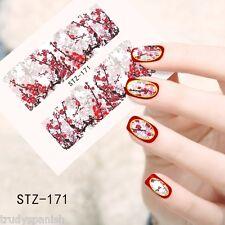 Nail Art Water Decals Wraps Oriental Japanese Winter Red Flowers Gel Polish 171