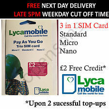 Brand New Lyca Mobile Pay As You GO 3 in 1 SIM Card Cheap Calls Lycamobile