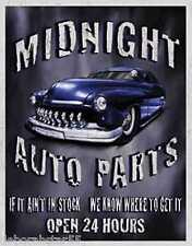 Midnight AutoParts HOT-ROD rétro garage métal publicité tin sign 40x31cm 1564