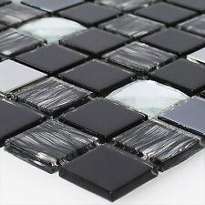 Glas Edelstahl Mosaik Fliesen Selbstklebend Schwarz Silber