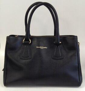 Russell + Bromley London Black Leather Handbag shoulder Bag Medium Size Zip Up