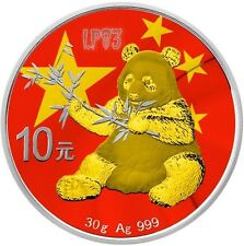 2017 1 Oz Silver CHIINESE FLAG PANDA Coin WITH 24k Gold Gilded..