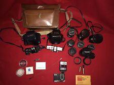 Lot Minolta SRT101 Maxxum 7000AF Camera W/Lens Vivatar Miida Soligor Tamron Acc.