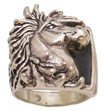 Mens - Silver Plated - Horsehead Ring - Size 9 - R-23 - Made in the USA