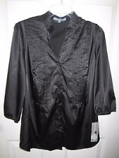 NY Collection Woman Silky Black Button Down Blouse 1X NWT