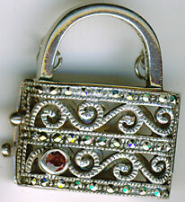 925 Sterling Silver Garnet & Marcasite  Locket Bag Box Opening Pendant