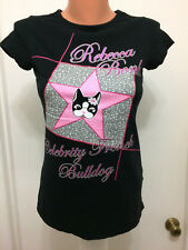 Rebecca BonBon Black Pink  Celebrity French Bulldog T-shirt  Juniors  S  Cotton