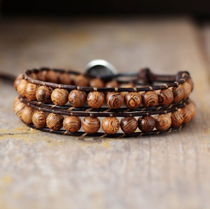 Natural Men's Wooden Beaded Friendship Leather Brown Wrap Stacking Bracelet