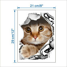 3D Effect Ginger Cat Breaking Through decal Wall Sticker Poster 14109