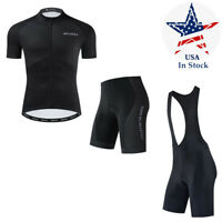 Men's Cycling Jersey Black Cycling Shorts Bib Shorts Padded Bicycle Riding Pants