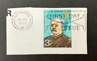QEII British First Day Stamp & Cancel on Piece 1973 3p Liverpool Henry Stanley