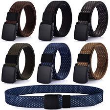 Men's Casual Dress Belt, Nylon Webbed Belt, Plastic Buckle, No Metal Parts