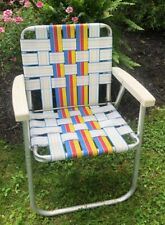 Vintage Aluminum Folding Lawn Chair Retro Webbed Vibrant Colors Of The Rainbow