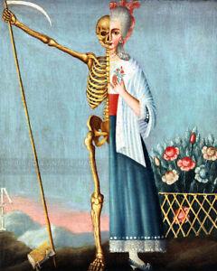 19th Century Life and Death Painting Fine Art Print Woman Skeleton Memento Mori