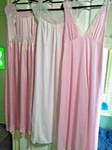 Lot of 3 Long Vintage Pink Ladies Nightgowns/Nighties - Size 16