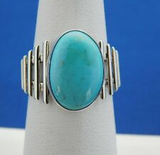 NATIVE AMERICAN NAVAJO CANDELARIA  TURQUOISE RING SIZE  6 1/2  STERLING