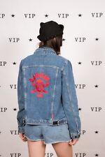 90s vintage 'Danger' skull & cross bones embroidered Quicksilver denim jacket