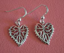 925 Sterling Silver Branch Flower Heart Shape Leaf  Dangle Earrings Jewelry