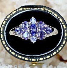 Real Diamond & Tanzanite Ring - 9ct Solid White Gold - 3.22gr - Size U