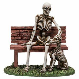 Skeleton and Dog Love Never Dies Skull Figurine Statue Skeleton Halloween