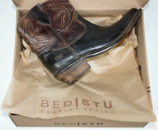 New Bed Stu Crane Women's Leather Western Boot Black Rustic/Teak Rustic Size 6.5