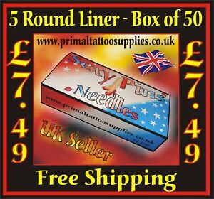 Sexy PinsTattoo Needles 5 Round Liners Box of 50 - (Tattoo Supplies - Grips)