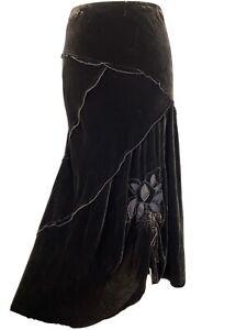 Brown Silk Blend Velvet Long Maxi Embroidered Floral Boudoir Skirt Size 16
