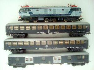 Treno locomotiva elettrica e 632 vagoni passeggeri FS LIMA HO  Vintage Leggi