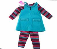 Baby Girl's 3 Piece Set- Striped Top& Leggings & GreenTunic- Age 6-12 months NEW