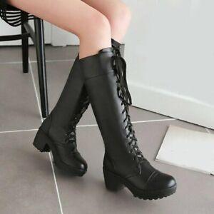 Womens Lace Up Knee High Boots Ladies Winter Military Combat Biker Shoe SZ 34-48