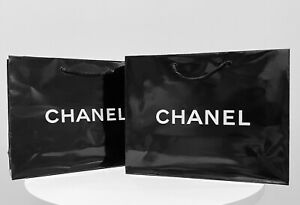 """(2) NEW CHANEL Authentic Classic Glossy Paper Shopping Gift Bag 10 X 8 X 3"""""""