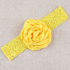 Baby Girl Wide Lace Turban Headband Head Wrap Hair Band With Rose Flower Yellow
