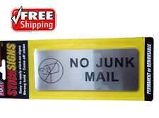 NO JUNK MAIL SIGN POST LETTER BOX LETTERBOX LEAFLETS MENUS FLYERS SALESPEOPLE