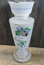 """Fab Antique Frosted Glass Large 12"""" Hand Painted Footed Art Vase Floral Bouquet"""