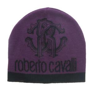 Roberto Cavalli  ESZ027 03000 Purple Logo Beanie Hat