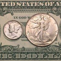 Mercury Dime & Walking Liberty (2 Coin Set)