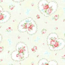 Cottage Shabby Chic Lecien Princess Rose Hearts Fabric 31266L-10 Cream BTY
