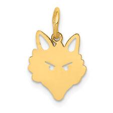 14K Yellow Gold Fox Head Face Charm 19x11mm  0.53gr