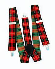 ROSSO & NERO tartan bretelle Punk scozzese Gangster CLOWN 70's 80's Fancy Dress