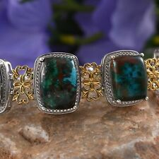 AUSTRALIAN CHRYSOCOLLA, 14K YG AND PLATINUM OVER STERLING SILVER 7.5 IN 53.25CTS