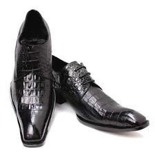 2 Color US Size 5-12 Alligator Print Square Toe Leather Dress Mens Oxford Shoes