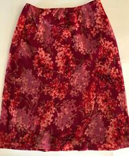 Express Skirt Size XS Pink Red Floral Lined Knee