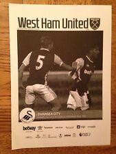 West Ham U21 v Swansea U21 Programme - 12th December 2016