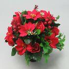 Christmas Artificial silk flowers memorial Crem Pot - Grave arrangement Xmas