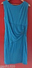 NWT REISS Beautiful Tile Effect Ruched Aqua Blue Salma Sheath Dress 10 14 $220