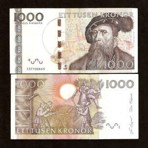 SWEDEN 1000 1,000 KRONER P-67 2005 GUSTAF VASA THRESHING MONEY BILL BANK NOTE
