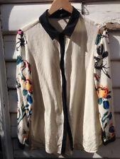 Tibi New York 100% Silk Floral Bird Sleeve Button Up Blouse Top. Size 8