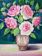 Vintage Roses  Stillife Original  Flower Gardens Oil Painting 6 x 8 inches