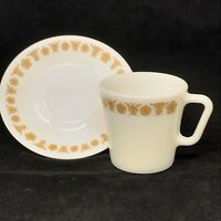 Vintage Pyrex 1410 Gold Butterflies Flowers Coffee Cup AND Saucer