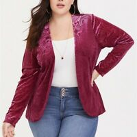 Torrid 2X 4X Top Blazer Cardigan Red Velvet Burnout Plus Size Open Front NWT